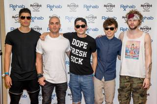 The Wanted arrives at Rehab on Sunday, April 27, 2014, in Hard Rock Hotel Las Vegas.