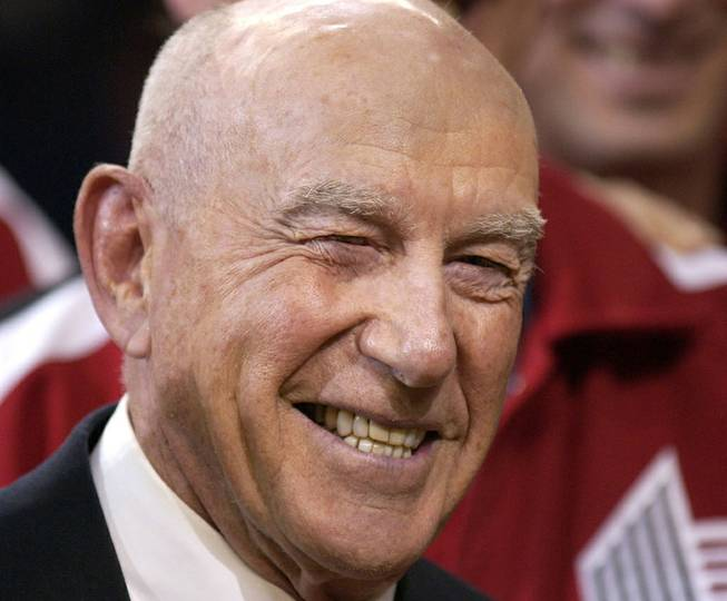 In this Sunday, April, 14, 2002, file photo, former Portland Trail Blazers coach Jack Ramsay smiles during a special 25th anniversary reunion of the Trail Blazers' 1976-77 championship team at halftime of their NBA basketball game against the Los Angeles Lakers, in Portland, Ore. Ramsay, a Hall of Fame coach who led the Portland Trail Blazers to the 1977 NBA championship before he became one of the league's most respected broadcasters, has died following a long battle with cancer. He was 89.