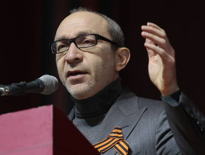 In this Feb. 22. 2014, file photo, Kharkiv mayor Hennady Kernes speaks at the congress of provincial lawmakers and officials in the Ukrainian eastern city of Kharkiv. Kernes was shot in the back Monday morning, April 28, 2014, his office said.