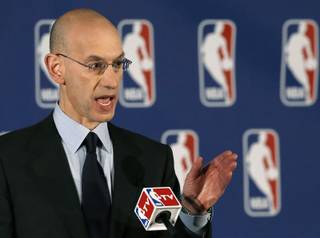 NBA Commissioner Adam Silver addresses the media during a news conference in New York, Tuesday, April 29, 2014.