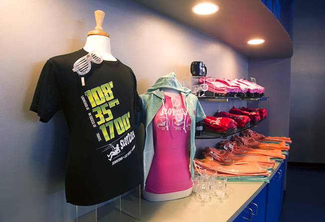 Merchandise is displayed in the SlotZilla giftshop and ticket office at the Fremont Street Experience in downtown Las Vegas, Wednesday, April 30, 2014. The SlotZilla Zipline, part of the $12 million SlotZilla project, opened Sunday.