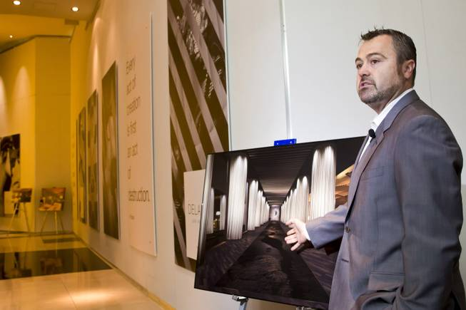Matthew Chilton, general manager of Delano Las Vegas, shows a rendering of what the newly designed hotel will look like Wednesday, April 30, 2014. Delano Las Vegas, a South Beach-style hotel experience, will have its grand opening in September.