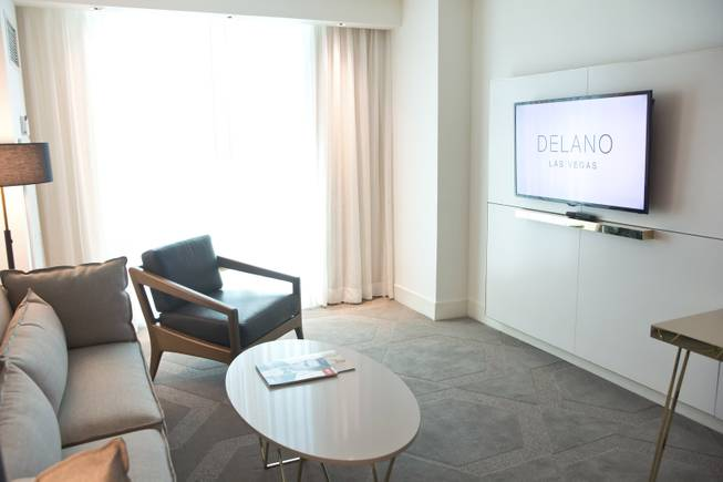A first look at the guest suites at Delano Las Vegas, Wednesday April 30, 2014. Delano Las Vegas, a South Beach style hotel experience, will have its grand opening in September of 2014.