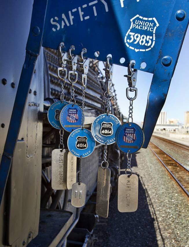 Safety tags hang from a board outside the cab of the Big Boy No. 4014 steam locomotive during its stop at Union Pacific Railroad in Las Vegas on its way to Cheyenne, Wyoming, on Wednesday, April 30, 2014.