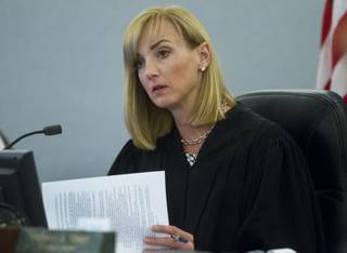 District judge Stefany Miley presides over the Melvyn Perry Sprowson Jr., habeus corpus hearing at Clark County District Court on Wednesday, April 30, 2014.  L.E. Baskow