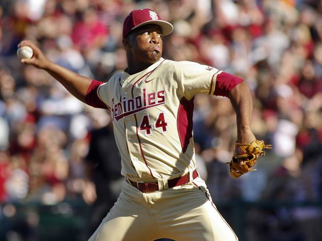 In this March 2, 2014, file photo, Florida State relief pitcher Jameis Winston throws in the ninth inning of an NCAA college baseball game against Miami in Tallahassee, Fla.