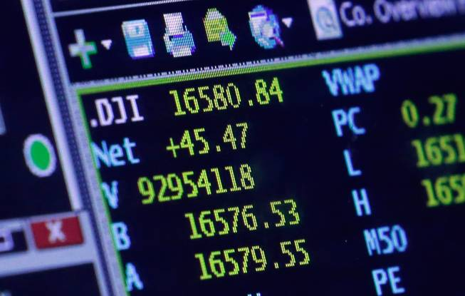 A screen at a trading post on the floor of the New York Stock Exchange shows the closing number for the Dow Jones industrial average, Wednesday, April 30, 2014. The DJIA closed at an all-time high, with a gain of 45 points to 16,580, four points above the record high it set on Dec. 31.