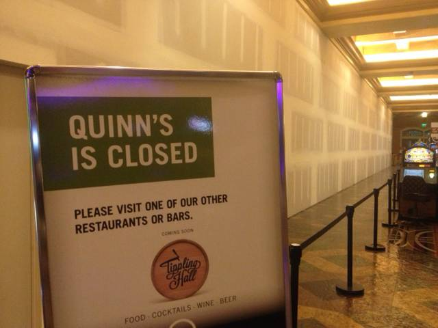 A sign at Green Valley Ranch Resort in Henderson lets patrons know that Quinn's Irish Pub is closed for business. The restaurant is one of two closed to make room for new eateries coming as part of a $20 million renovation.