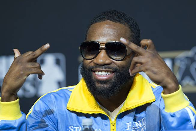 Super lightweight boxer Adrien Broner  poses during a news conference for undercard boxers at the MGM Grand Thursday, May 1, 2014. Broner will fight Carlos Molina at the MGM Grand Garden Arena on Saturday.