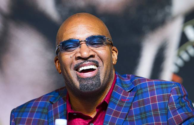 Leonard Ellerbe, CEO of Mayweather Promotions, laughs during a news conference for undercard boxers at the MGM Grand Thursday, May 1, 2014.