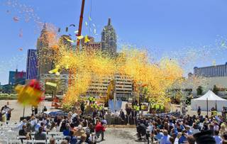 Confetti flies as AEG and MGM Resorts International representatives and celebrities break ground on a new world-class indoor arena in Las Vegas onThursday, May 1, 2014.  The 20,000-seat sports and entertainment venue will be located near the heart of the famed Las Vegas Strip and adjacent to the I-15 corridor.