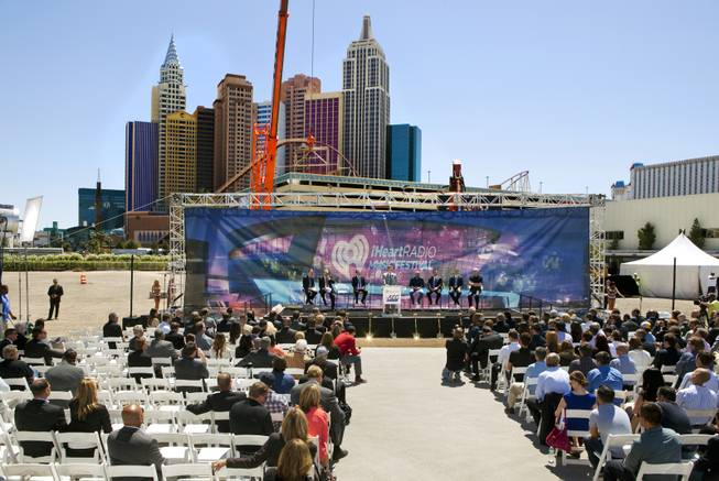 MGM Resorts Chief Executive Jim Murren welcomes the crowd as partners AEG and MGM Resorts International break ground with a ceremonial VIP/media event for the 20,000-seat sports and entertainment arena on Thursday, May 1, 2014.