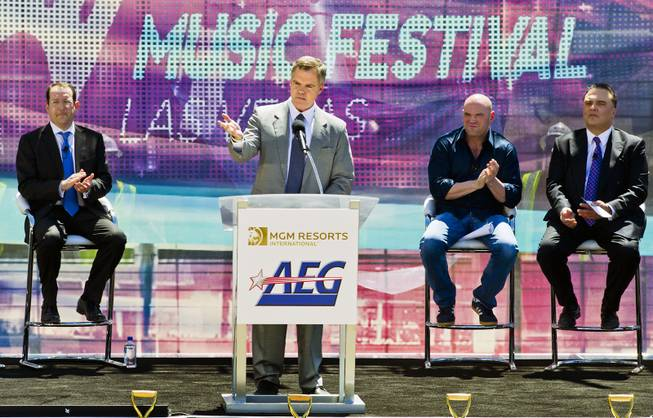 MGM Resorts Chief Executive Jim Murren thanks invited dignitaries as partners AEG and MGM Resorts International break ground with a ceremonial VIP/media event for the 20,000-seat sports and entertainment arena on Thursday, May 1, 2014.