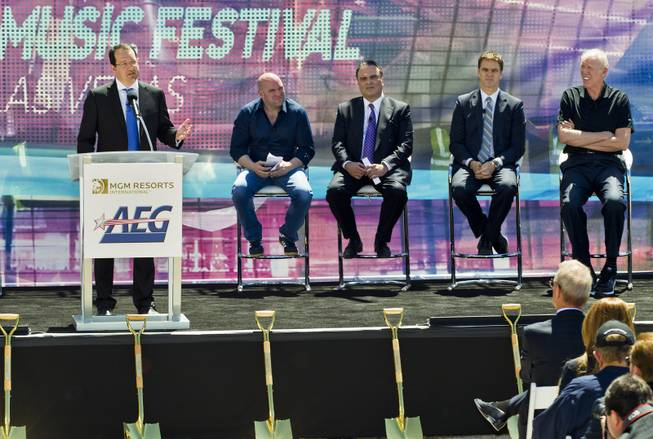 AEG Chief Executive Dan Beckerman thanks the welcomed crowd as partners AEG and MGM Resorts International break ground with a ceremonial VIP/media event for the 20,000-seat sports and entertainment arena on Thursday, May 1, 2014.