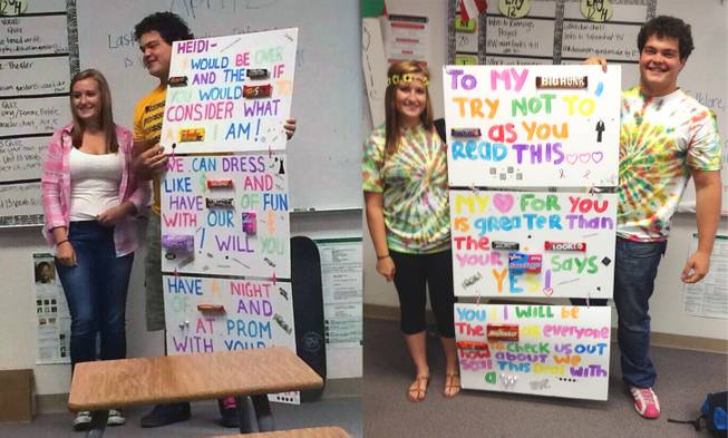 "Foothill High School seniors Dylan Weasa and Heidi Koehler pose with his ""promposal"" and her response messages in this photo illustration."