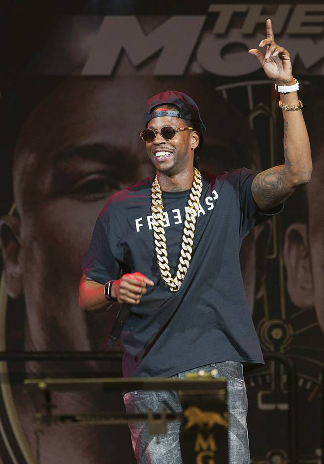 Rapper 2 Chainz performs before an official weigh-in for WBC welterweight champion Floyd Mayweather Jr.  and WBA champion Marcos Maidana of Argentina at the MGM Grand Garden Arena Friday, May 2, 2014. The two champions will meet in a WBC/WBA unification fight at the arena on Saturday.