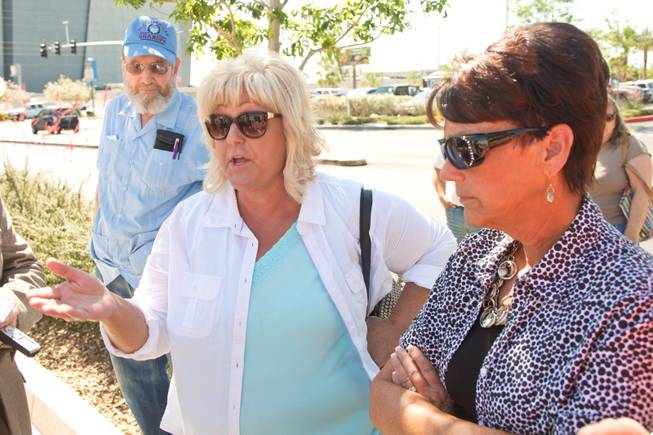 Lillie Spencer, at left, and Margaret Houston, Cliven Bundy's sisters, speak with reporters during a peaceful protest in front of the Metro Police department, Friday May 2, 2014.