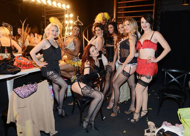 Holly Madison, seated, backstage with other performers at the grand opening of 1923 Bourbon & Burlesque by Holly Madison at Mandalay Bay on Thursday, May 1, 2014, in Las Vegas.