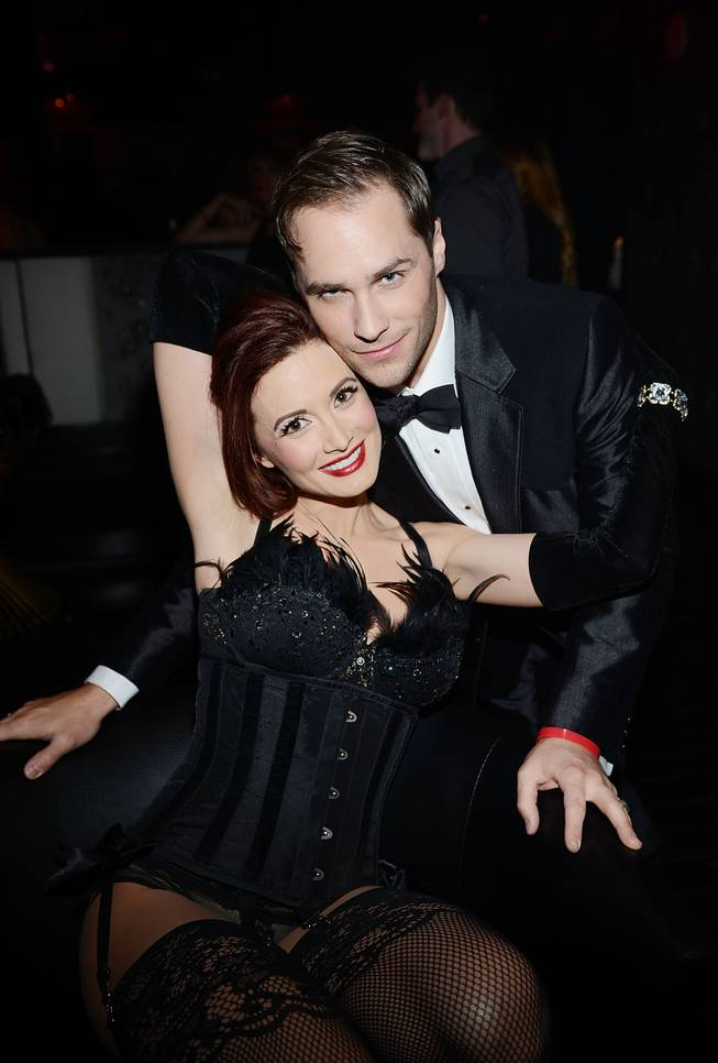 Holly Madison and Josh Strickland attend the grand opening of 1923 Bourbon & Burlesque by Holly Madison at Mandalay Bay on Thursday, May 1, 2014, in Las Vegas.