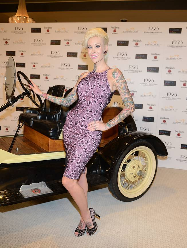 Sabina Kelley arrives at the grand opening of 1923 Bourbon & Burlesque by Holly Madison at Mandalay Bay on Thursday, May 1, 2014, in Las Vegas.