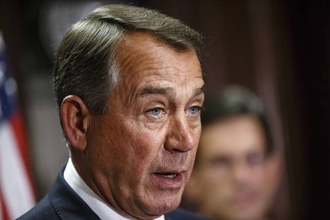 This April 29, 2014, file photo shows House Speaker John Boehner of Ohio speaking on Capitol Hill in Washington.