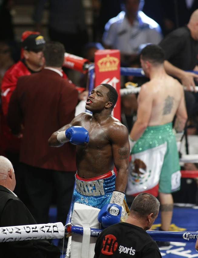 Adrien Broner of the U.S. celebrates his victory over Carlos Molina in their super lightweight fight at the MGM Grand Garden Arena on Saturday, May 3, 2014.