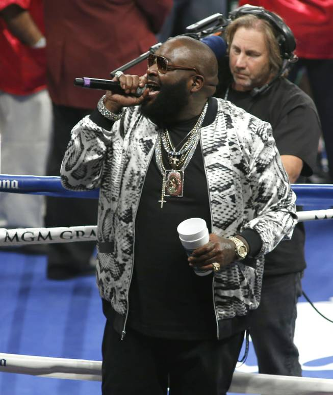 American Rapper Rick Ross performs a song before the Adrien Broner and Carlos Molina super lightweight fight at the MGM Grand Garden Arena on Saturday, May 3, 2014.