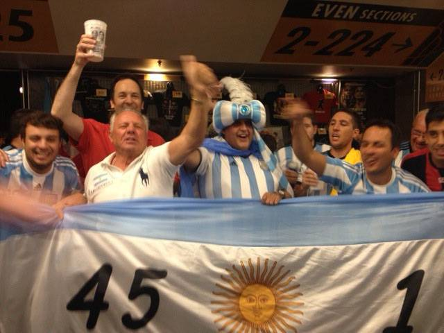 Fans of Argentine fighter Marcos Maidana display their nation's colors Saturday, May 3, 2014, at the MGM Grand Garden Arena in Las Vegas. Maidana faced Floyd Mayweather in a welterweight title unification fight.