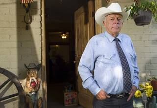 Rancher Cliven Bundy stands at his ranch house Sunday, May 4, 2014, near Bunkerville.
