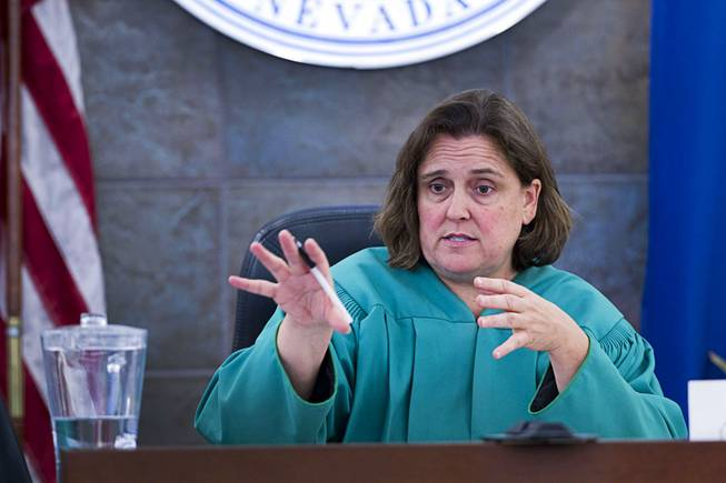 "District Court Judge Kathleen Delaney speaks to potential jurors as jury selection begins in the trial for Jason ""Blu"" Griffith, the man accused of killing Luxor ""Fantasy"" dancer Debora Flores Narvaez, at the Regional Justice Center Monday, May 5, 2014."