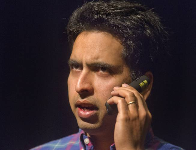 Sal Khan re-enacts his phone conversation with a representative for Bill Gates during a speech about online education and financial literacy at WACUBO14 in the J.W. Marriott on Monday, May 5, 2014.