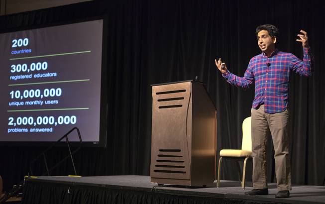 Sal Khan expresses his amazement at how Khan Academy has evolved during a speech about online education and financial literacy at WACUBO14 in the J.W. Marriott on Monday, May 5, 2014.