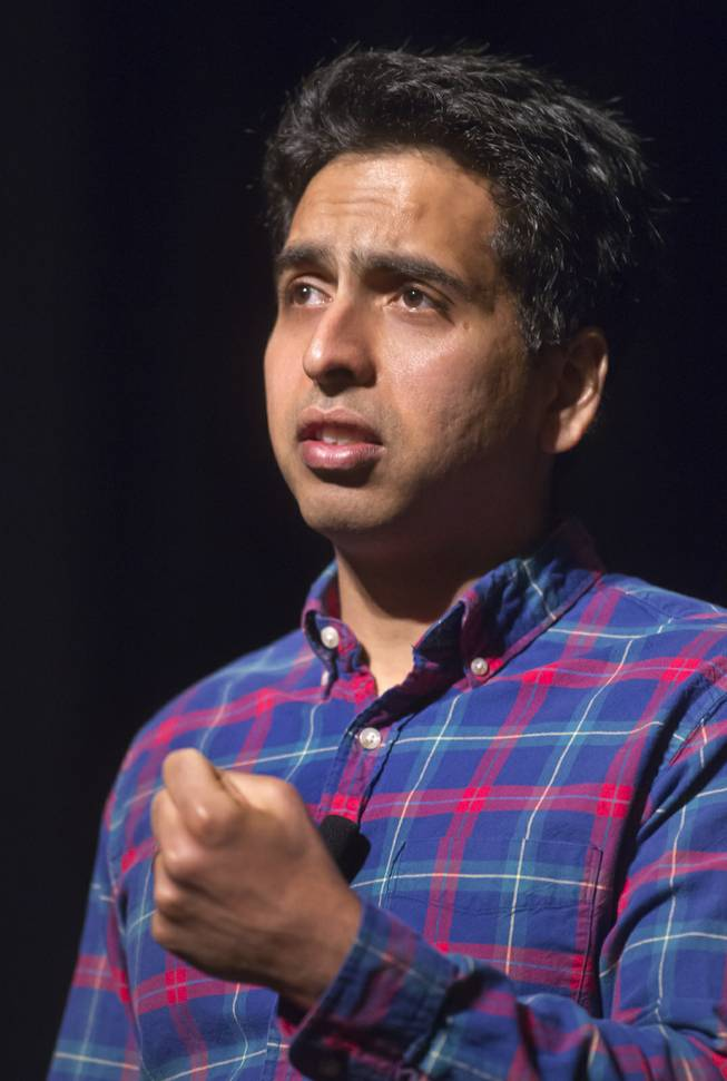Sal Khan drives home his theories on learning during a speech about online education and financial literacy at WACUBO14 in the J.W. Marriott on Monday, May 5, 2014.