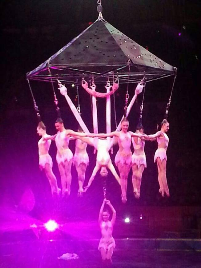 In this photo provided by Frank Caprio, performers hang during an aerial hair-hanging stunt at the Ringling Brothers and Barnum and Bailey Circus, Friday, May 2, 2104, in Providence, R.I. A platform collapsed during an aerial hair-hanging stunt at the 11 a.m. performance Sunday, May 4, sending eight acrobats plummeting to the ground.