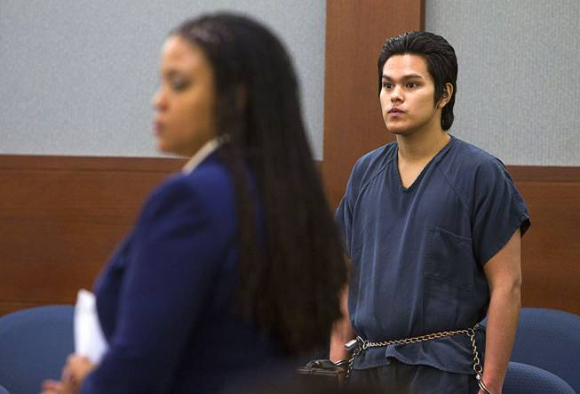 "Jeremy Espiritu, 22, stands during sentencing at the Regional Justice Center Tuesday, May 6, 2014. Defense attorney Donishia Campbell is at left. Espiritu told police that he stabbed the family dog, Serenity, with a six-inch serrated knife because he ""wanted to."" The dog later died of the injury."