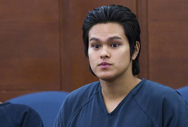 "Jeremy Espiritu, 22, is shown in court after sentencing at the Regional Justice Center Tuesday, May 6, 2014. Espiritu told police that he stabbed the family dog, Serenity, with a six-inch serrated knife because he ""wanted to."" The dog later died of the injury."