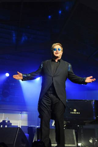 Sir Elton John performs at the Battersea Power Station Annual Party on Wednesday, April 30, 2014, in London, England.