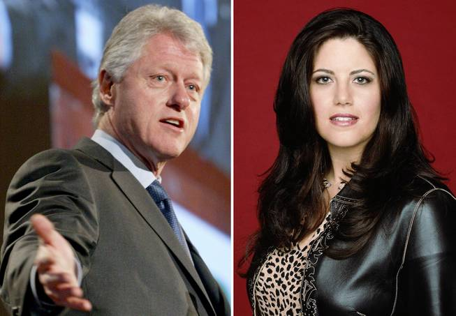 Former President Bill Clinton is seen on March 9, 2004, in New York. Monica Lewinsky is shown in an undated promotional photo provided by Fox.