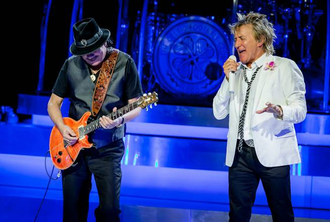 "Carlos Santana and Rod Stewart perform ""I'd Rather Go Blind"" ..."