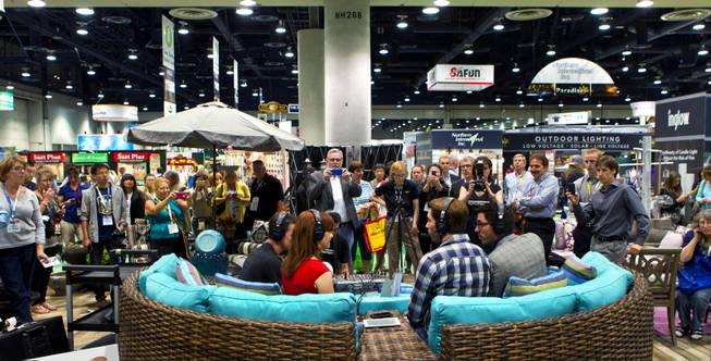 Hosts of HGTV's Property Brothers show Drew and Jonathan Scott draw a crowd during the National Hardware Show 2014 in the Las Vegas Convention Center on Wednesday, May 7, 2014.   L.E. Baskow