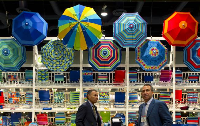 Rio Brands features very colorful, casual furniture on display at the National Hardware Show 2014 in the Las Vegas Convention Center on Wednesday, May 7, 2014.   L.E. Baskow