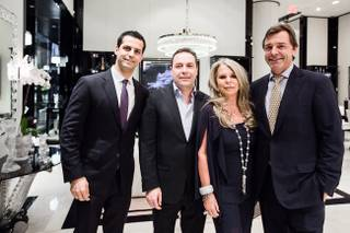 Maz Zouhairi, Pietro Mingarelli, Lady Tina Green and Silvio Denz at Lalique in the Shops at Crystals on Thursday, May 1, 2014, in CityCenter.