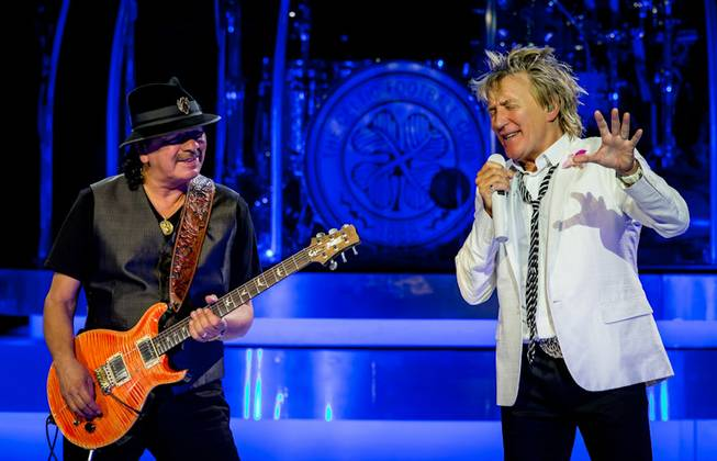 "Carlos Santana and Rod Stewart perform ""I'd Rather Go Blind"" at the Colosseum on Tuesday, May 6, 2014, in Caesars Palace. This was their first time performing together on the heels of their U.S. co-headlining tour."