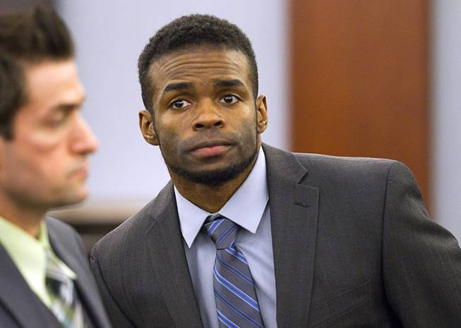 "Jason Omar Griffith appears in court during his trial at the Regional Justice Center Thursday, May 8, 2014. Griffith is accused of murdering Luxor ""Fantasy"" dancer Deborah Flores Narvaez in December 2010."