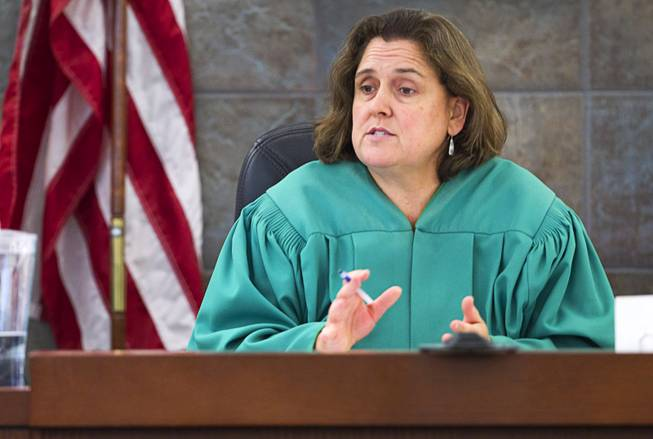 "Judge Kathleen Delaney speaks to jurors as the trial begins for Jason Omar Griffith at the Regional Justice Center Thursday, May 8, 2014. Griffith is accused of murdering Luxor ""Fantasy"" dancer Deborah Flores Narvaez in December 2010."