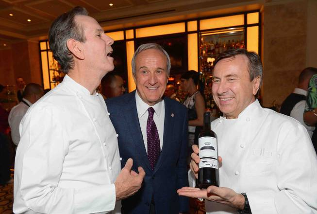 Thomas Keller, Larry Ruvo and Daniel Boulud attend the grand opening of DB Brasserie by chef Boulud on Thursday, May 8, 2014, at the Venetian.