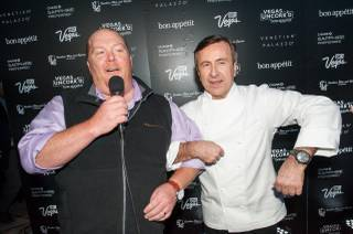 Mario Batali and Daniel Boulud attend the Night Market: East Meets West on Thursday, May 8, 2014, at the Venetian.
