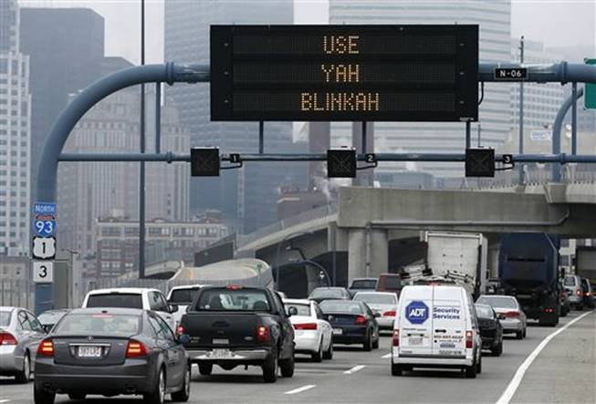 "An electronic highway sign is seen on Interstate 93 in Boston on Friday, May 9, 2014. The Massachusetts Department of Transportation posted the message ""Changing Lanes? Use Yah Blinkah"" on signs around the city. ""Blinkah"" is how Bostonians pronounce ""blinker."""
