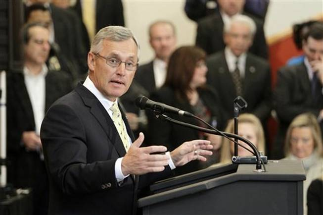 Former Ohio State football coach Jim Tressel speaks after being introduced as the new vice president for strategic engagement at the University of Akron, in Akron, Ohio, in this Feb. 2, 2012 file photo. Tressel has been offered the job of president at Youngstown State University less than a month after he applied for the same position at the University of Akron.