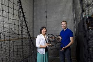 Skyworks founders Jinger Zeng and Greg Friesmuth pose in drone testing lab at UNLV Tuesday, May 6, 2014.